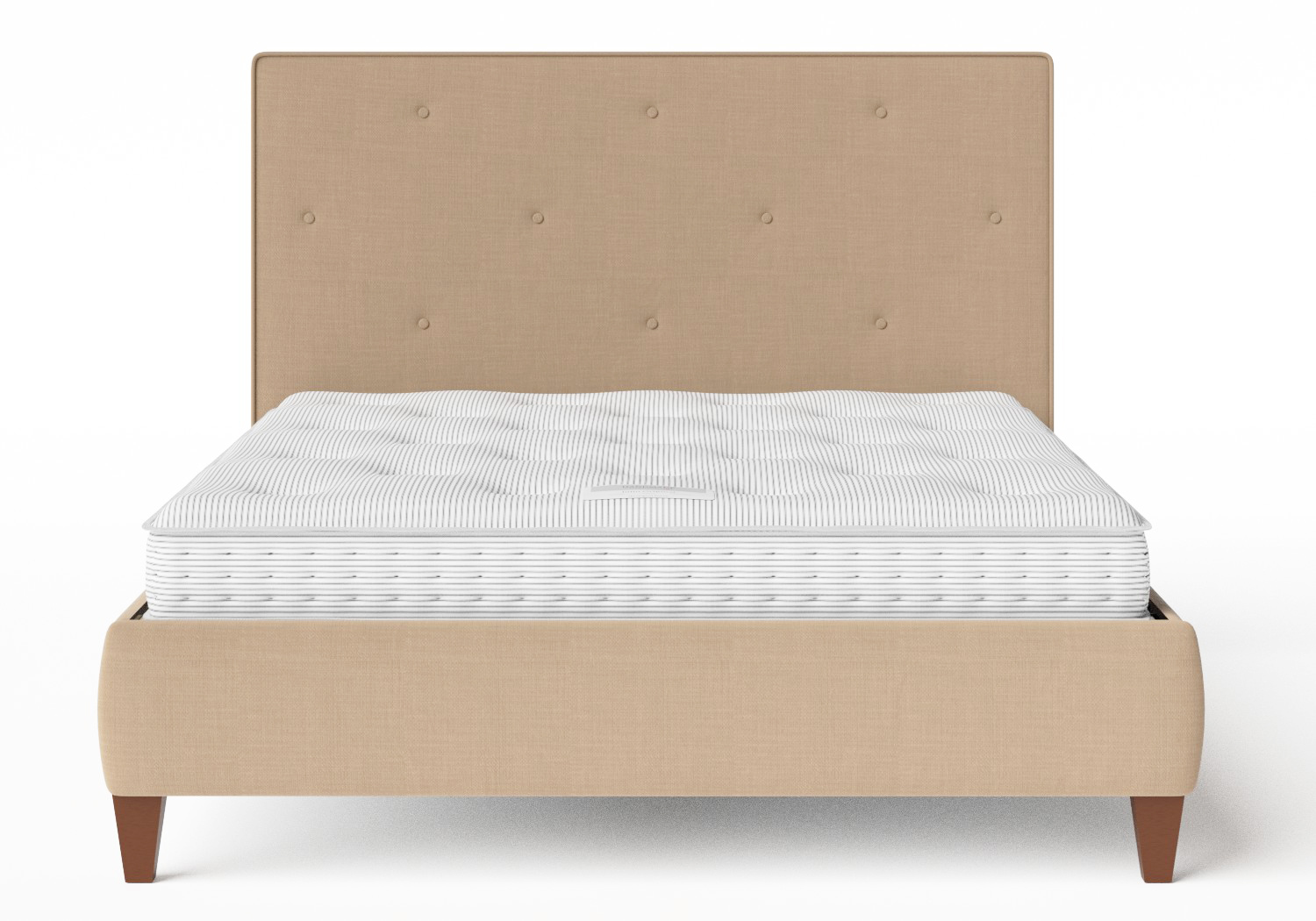 Yushan Upholstered Bed in Straw fabric with buttoning shown with Juno 1 mattress