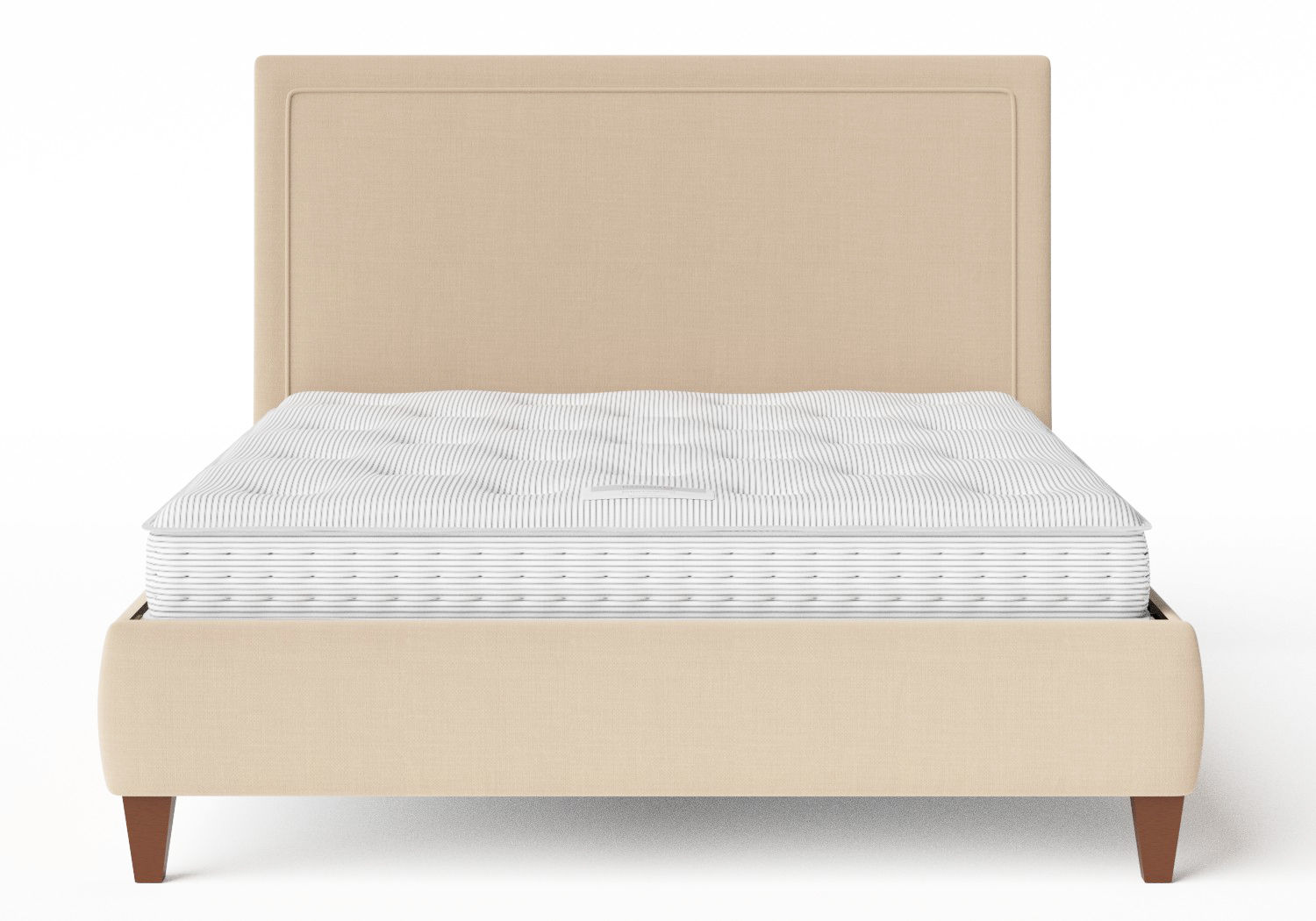 Yushan Upholstered Bed in Natural fabric shown with Juno 1 mattress