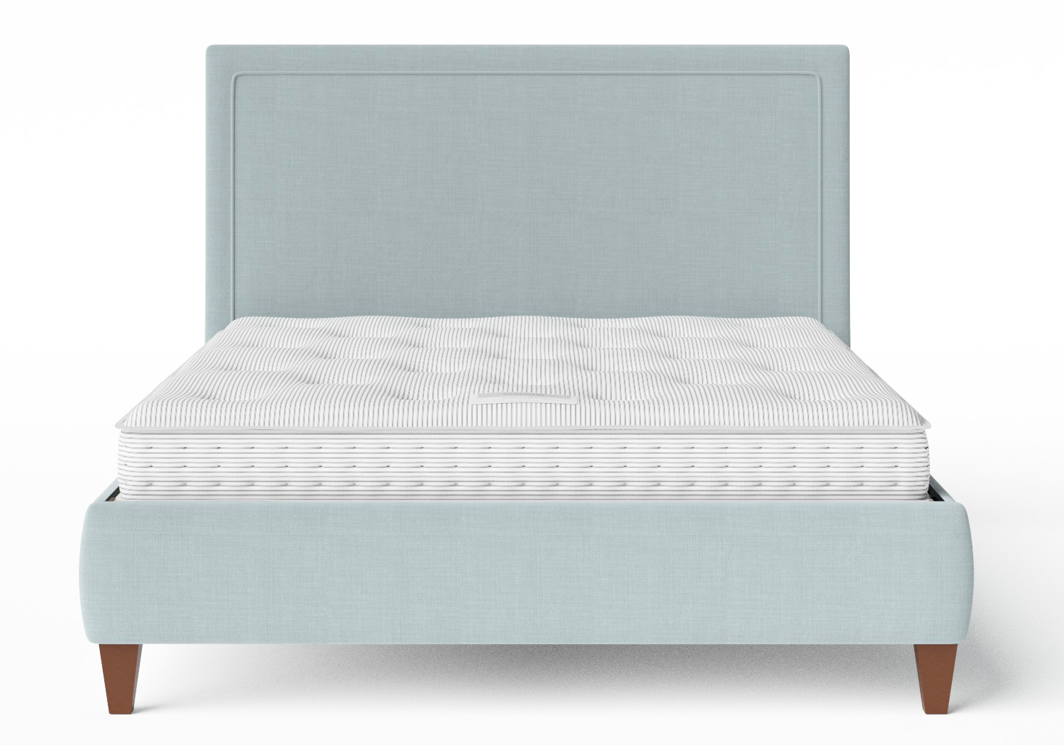 Yushan Upholstered Bed in Wedgewood fabric shown with Juno 1 mattress