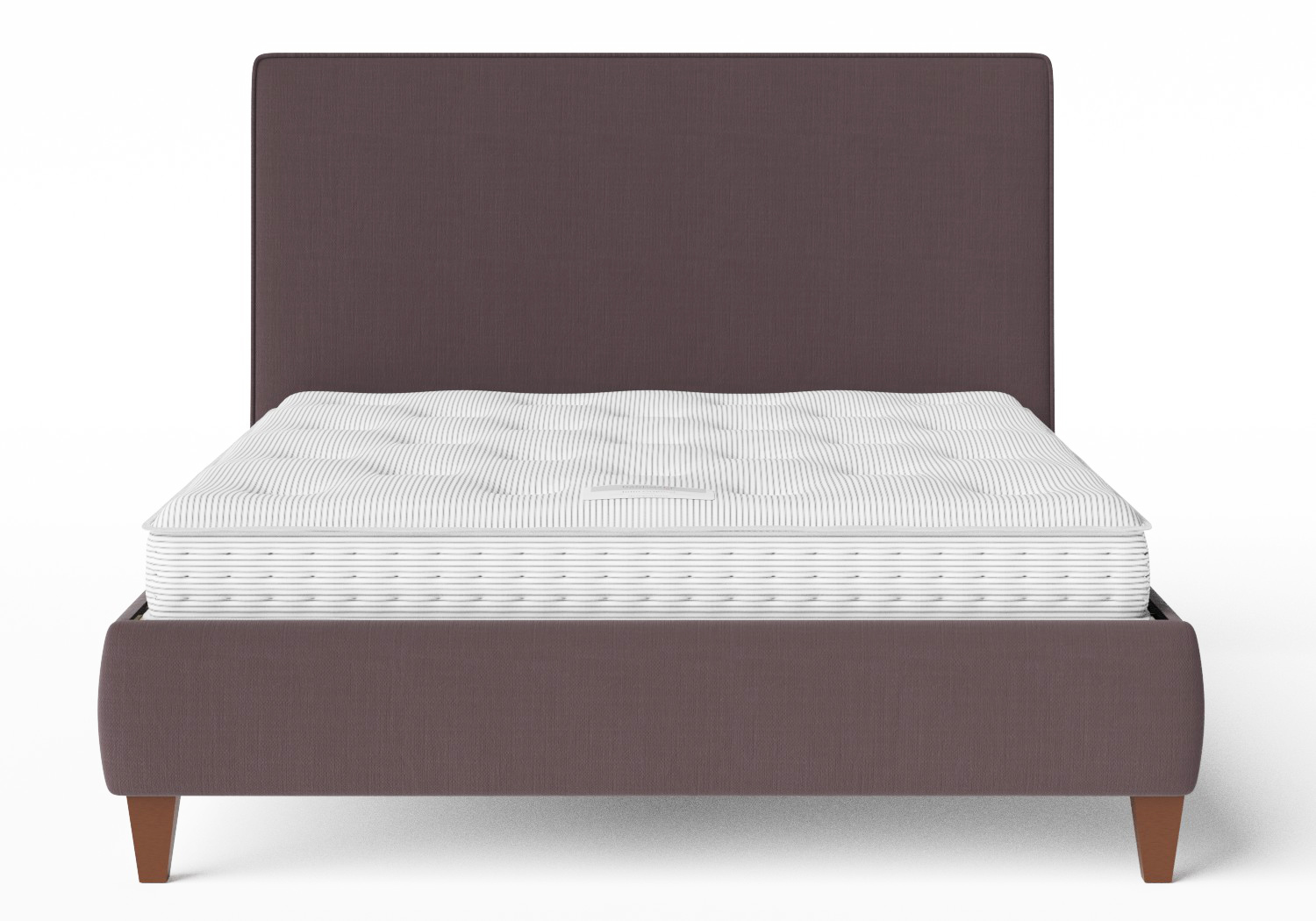 Yushan Upholstered Bed in Aubergine fabric with piping shown with Juno 1 mattress