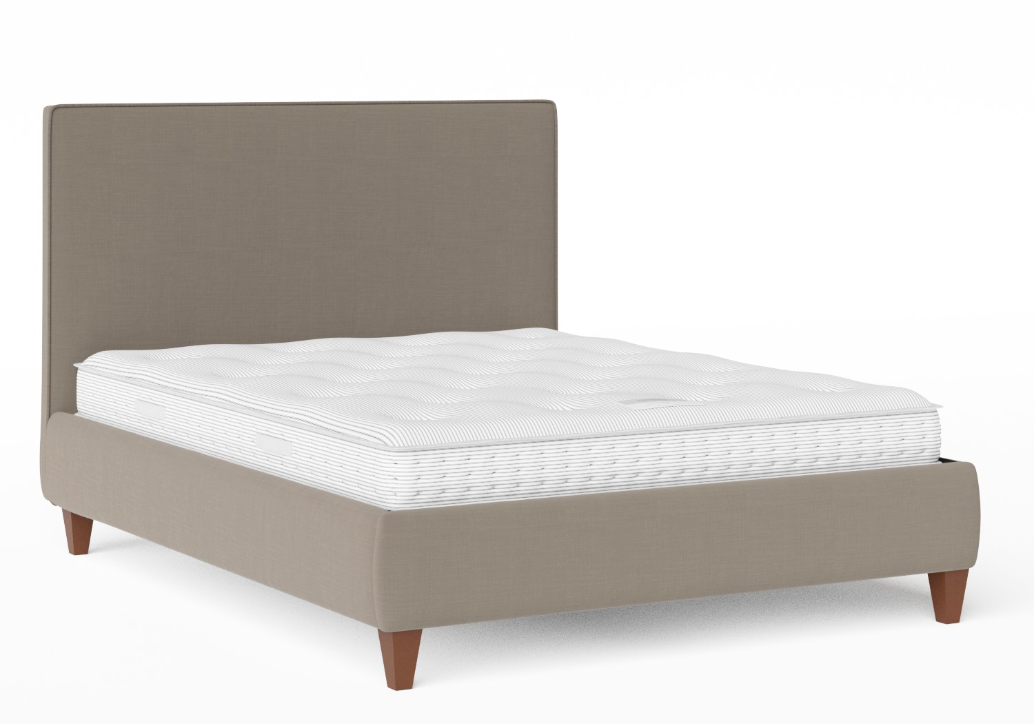 Yushan Upholstered Bed in Grey fabric with piping shown with Juno 1 mattress