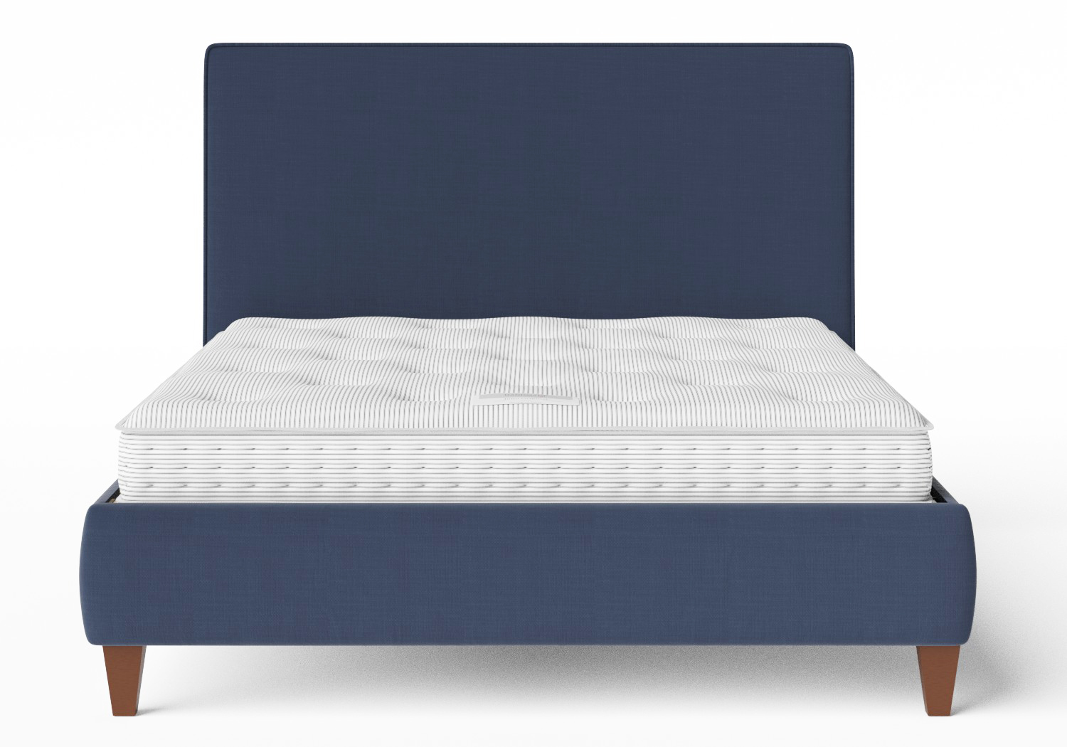 Yushan Upholstered Bed in Navy fabric with piping shown with Juno 1 mattress
