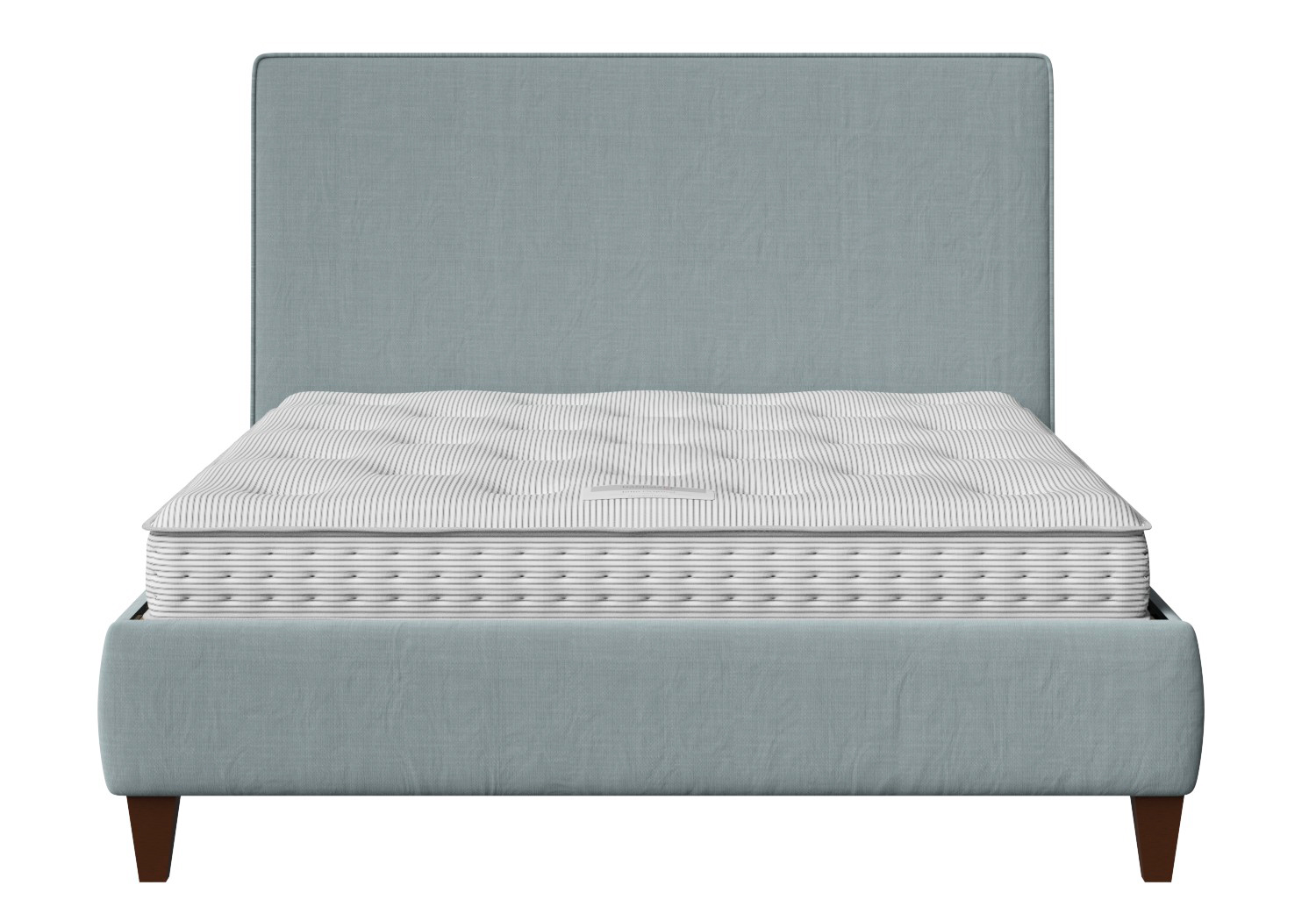 Yushan Upholstered Bed in Wedgewood fabric with piping shown with Juno 1 mattress