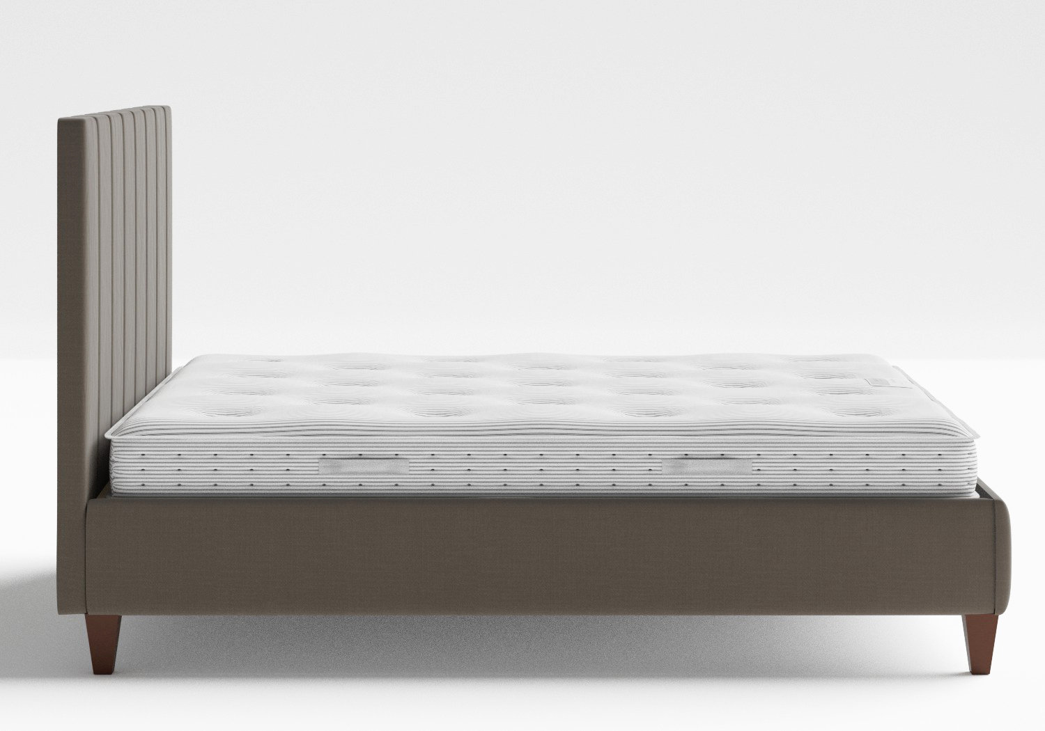 Yushan Upholstered Bed in Grey fabric shown with Juno 1 mattress