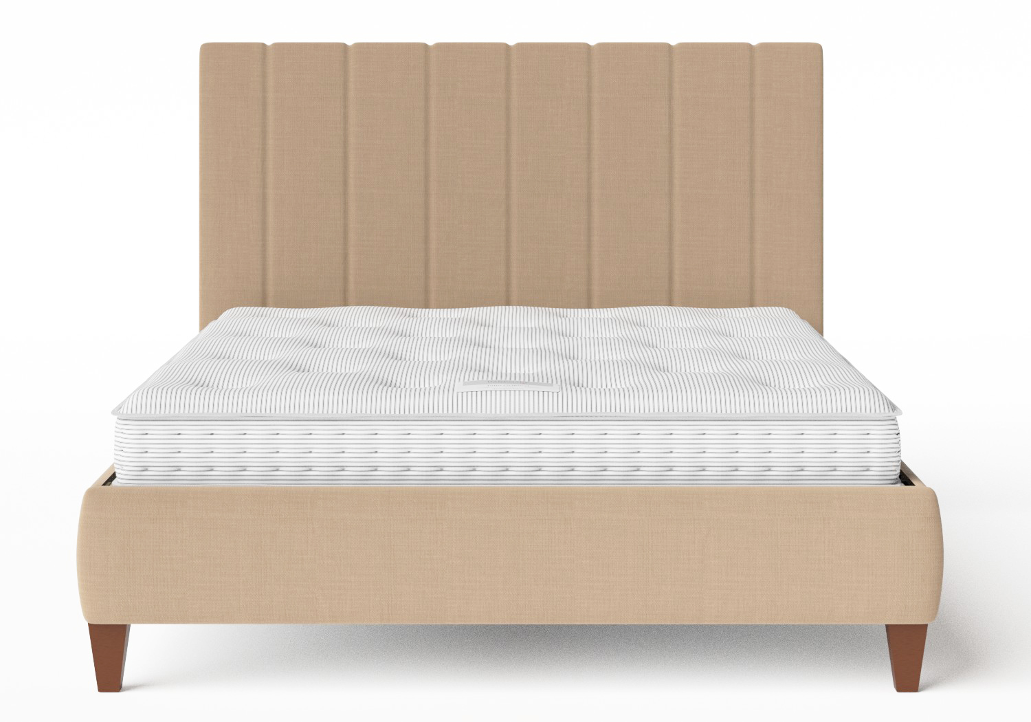 Yushan Upholstered Bed in Straw fabric shown with Juno 1 mattress
