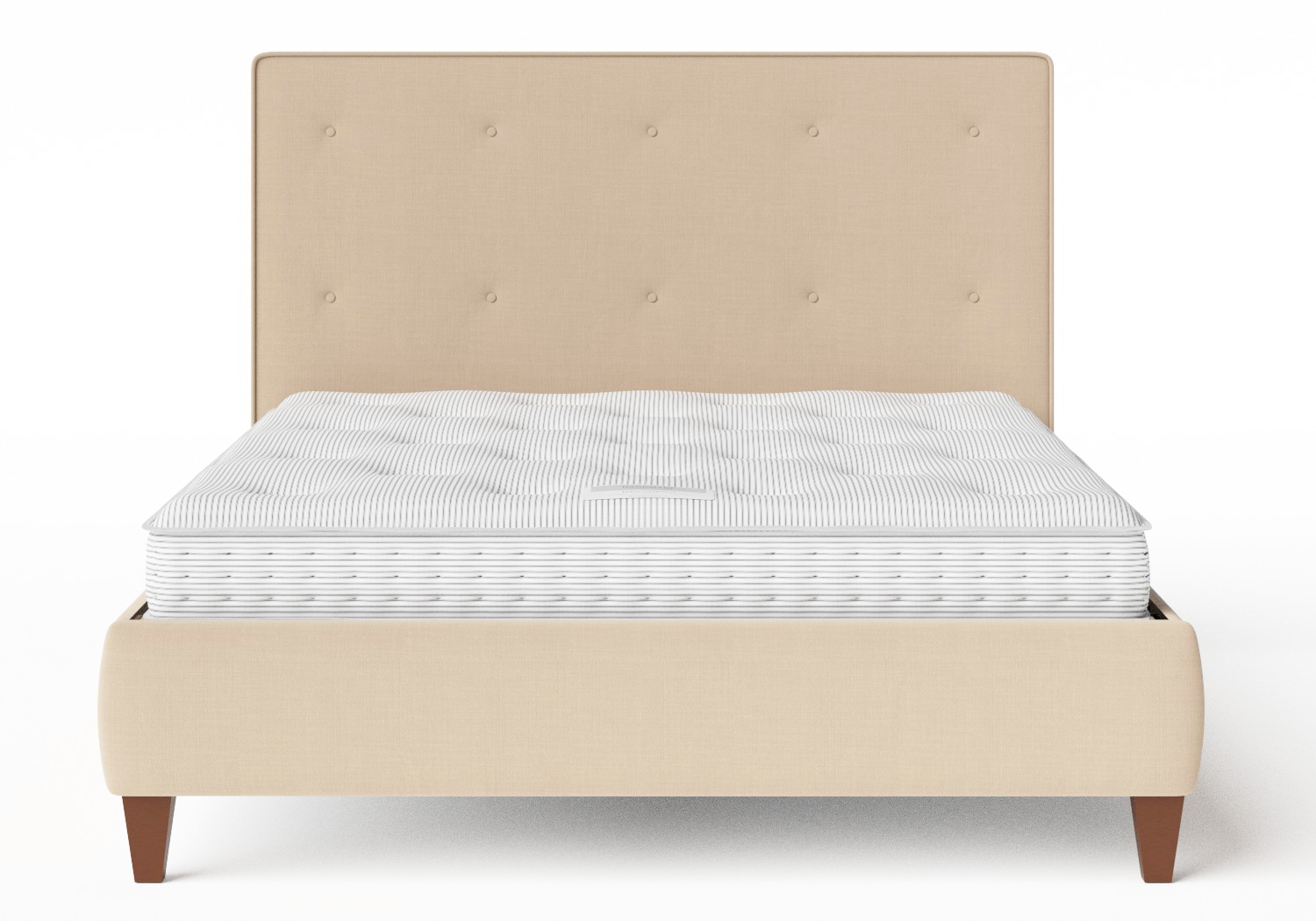 Yushan Upholstered Bed in Natural fabric with buttoning shown with Juno 1 mattress