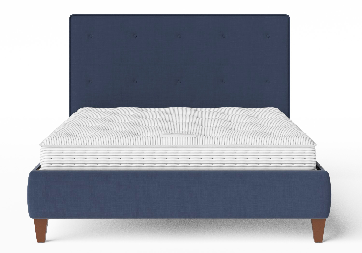 Yushan Upholstered Bed in Navy fabric with buttoning shown with Juno 1 mattress