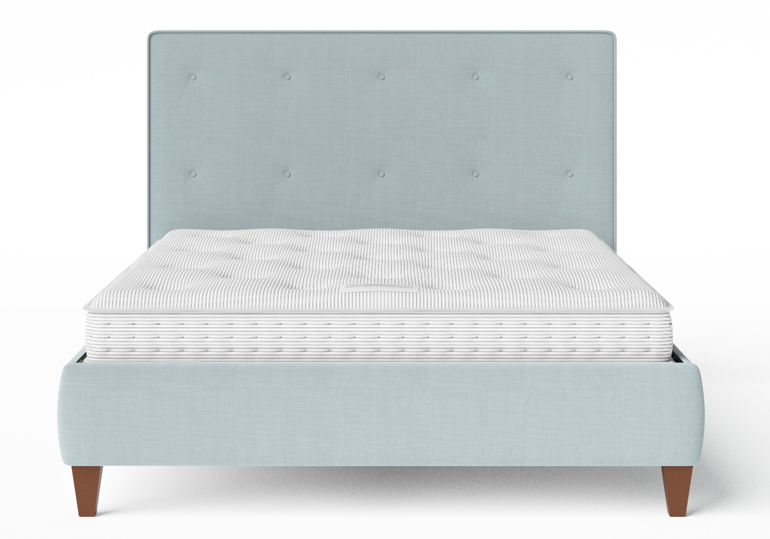 Yushan Upholstered Bed in Wedgewood fabric with buttoning shown with Juno 1 mattress