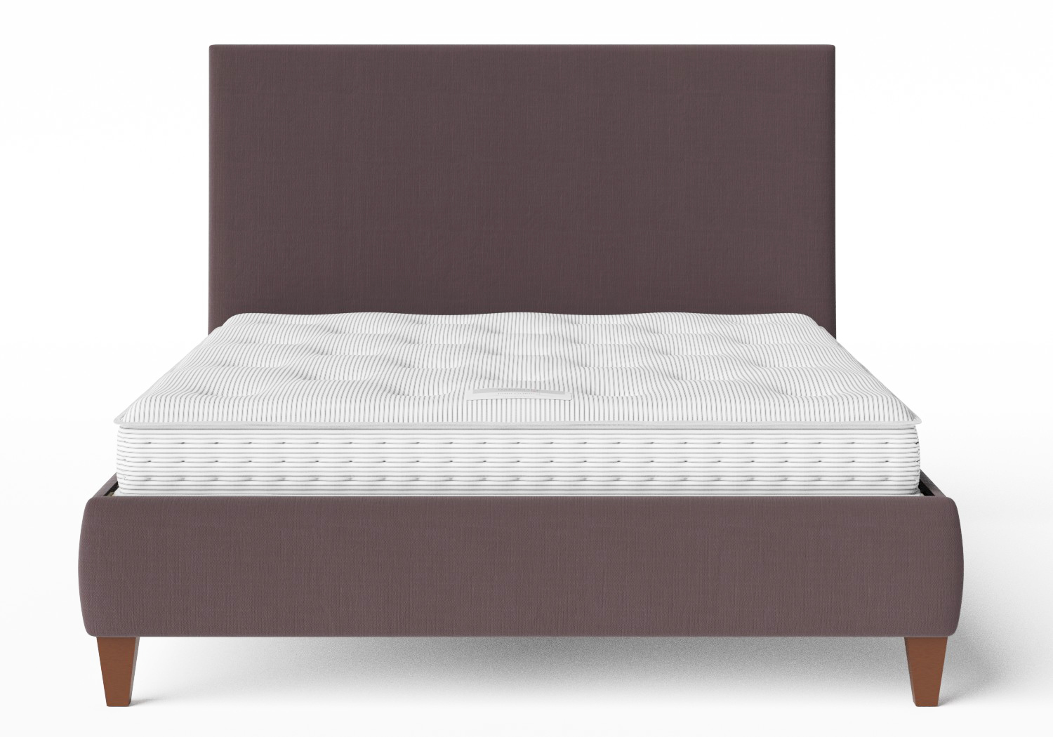 Yushan Upholstered Bed in Aubergine fabric shown with Juno 1 mattress