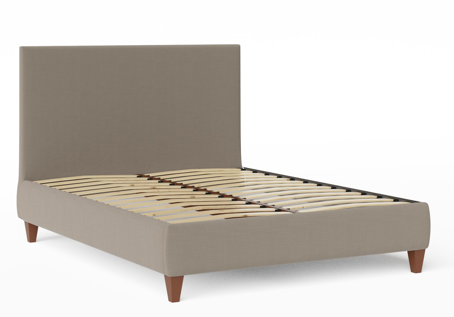 Yushan Upholstered Bed in Grey fabric shown with slatted frame