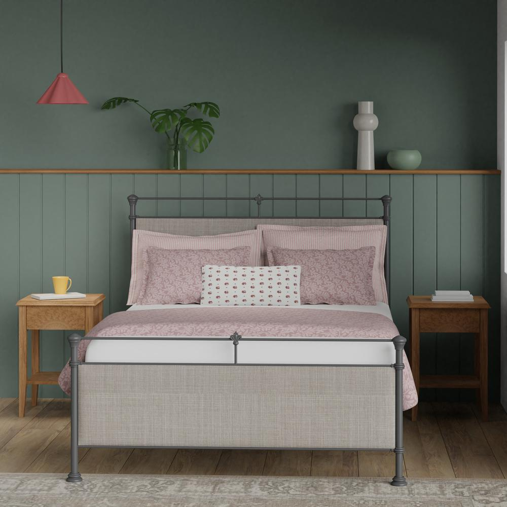 Nancy cast iron bed with upholstered panels