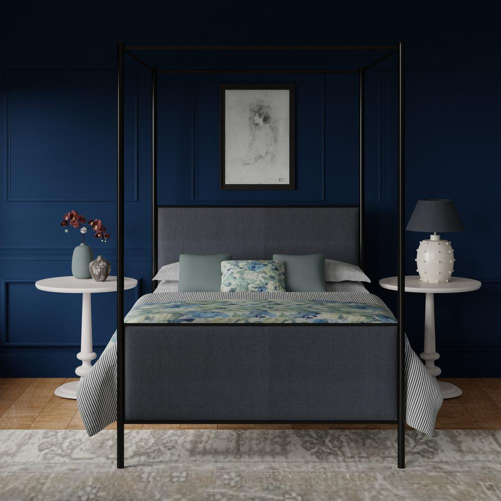 Reims iron bed in black in a Navy blue bedroom