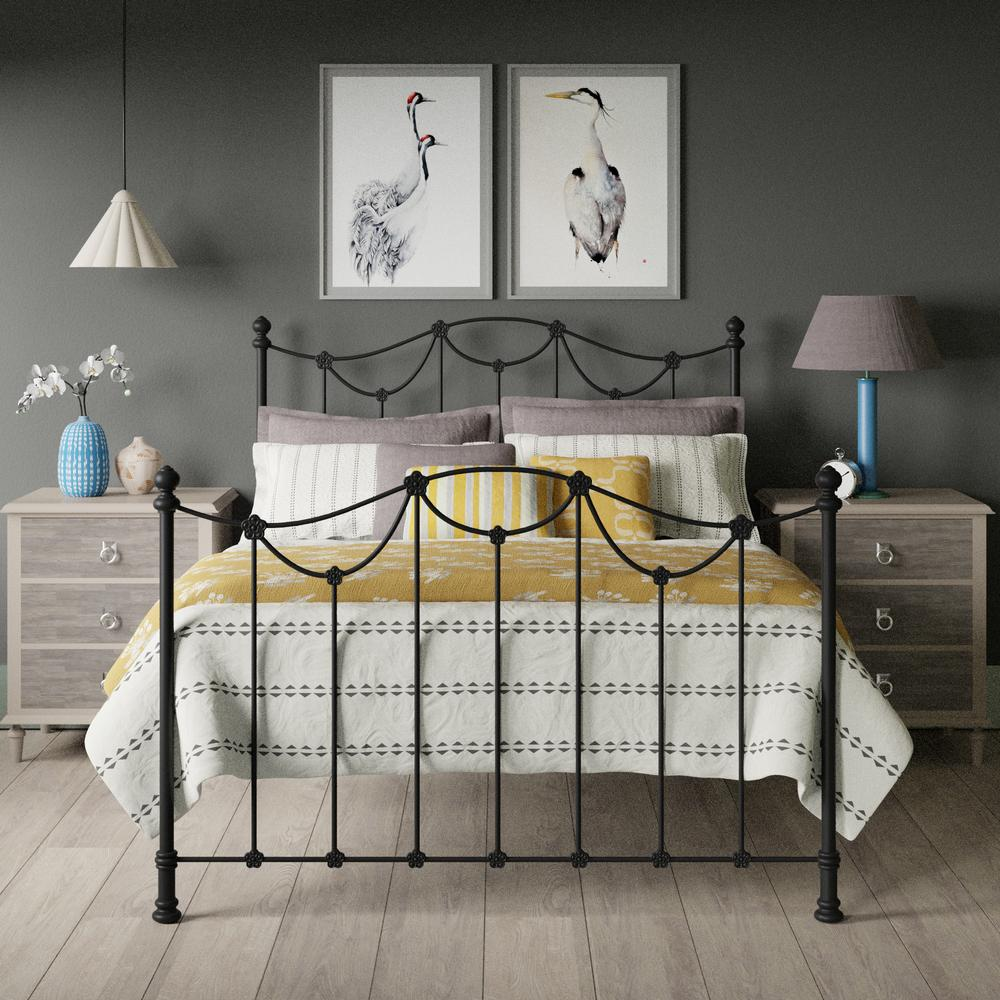 Carie iron bed in black with yellow linens