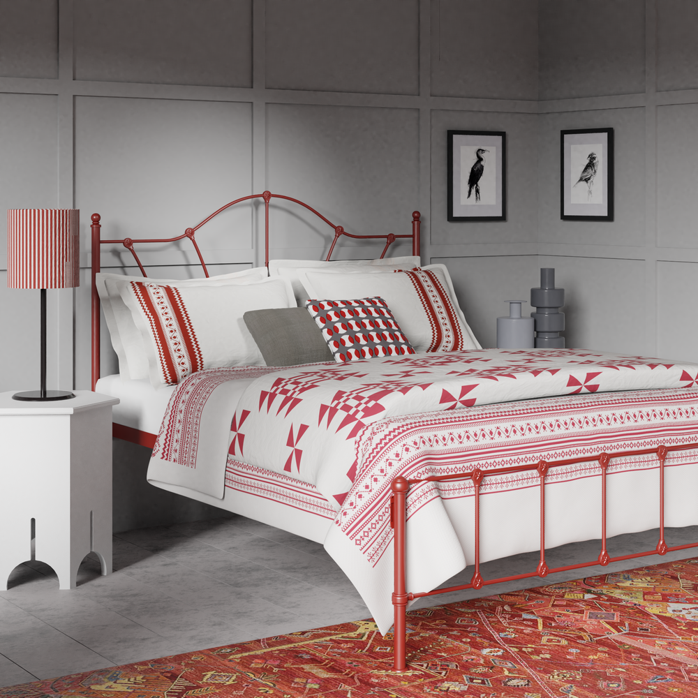 Claudia iron bed in red