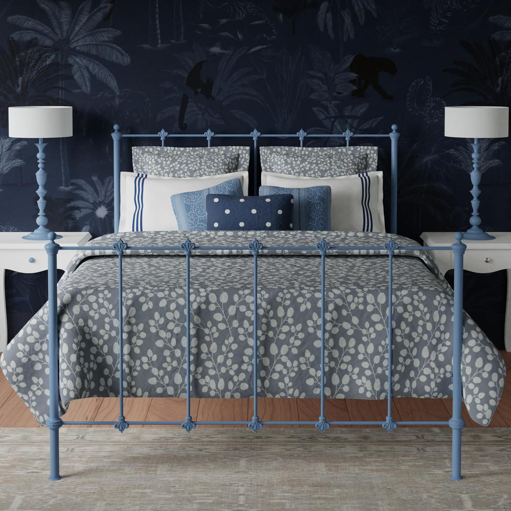Paris iron bed in light blue with Navy blue walls