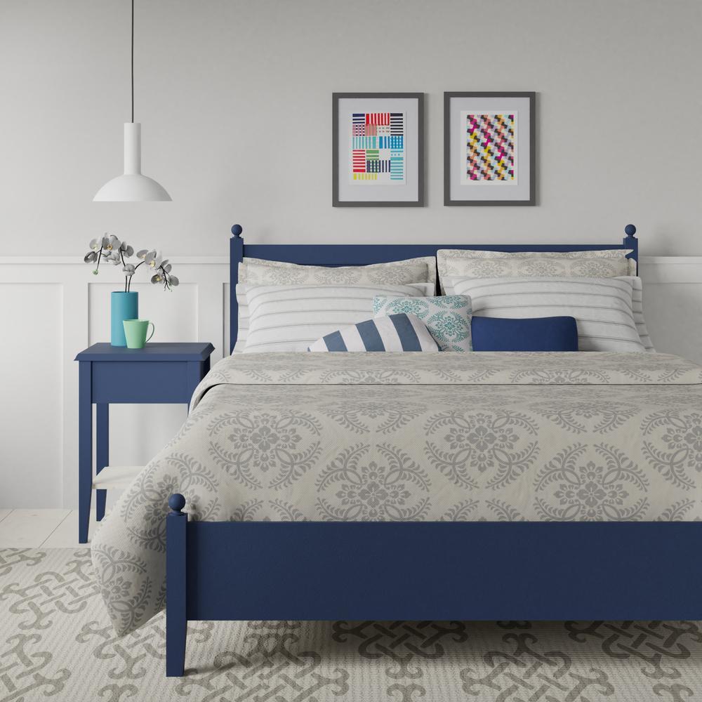 Marbella low footend wood bed in navy blue