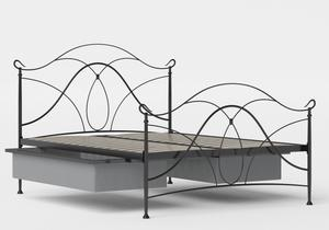 Ardo Iron/Metal Bed in Satin Black shown with underbed storage - Thumbnail