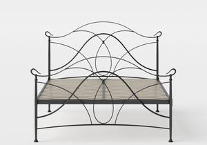 Ardo Iron/Metal Bed in Satin Black shown with slatted frame - Thumbnail