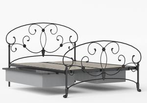 Arigna Iron/Metal Bed in Satin Black shown with underbed storage - Thumbnail