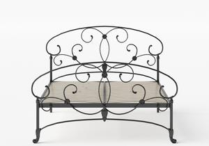 Arigna Iron/Metal Bed in Satin Black shown with slatted frame - Thumbnail