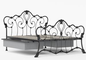 Athalone Iron/Metal Bed in Satin Black shown with underbed storage - Thumbnail