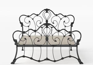Athalone Iron/Metal Bed in Satin Black shown with slatted frame - Thumbnail