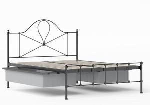 Athena Iron/Metal Bed in Satin Black shown with underbed storage - Thumbnail