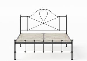 Athena Iron/Metal Bed in Satin Black shown with slatted frame - Thumbnail