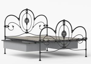Ballina Iron/Metal Bed in Satin Black shown with underbed storage - Thumbnail
