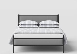 Brest Iron/Metal Upholstered Bed in Satin Black with Grey Fabric  - Thumbnail