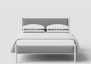Brest Iron/Metal Upholstered Bed in Glossy Ivory with Grey Fabric  - Thumbnail