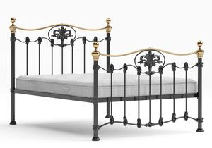 Camolin Iron/Metal Bed in Satin Black with Brass details shown with Juno 1 mattress - Thumbnail