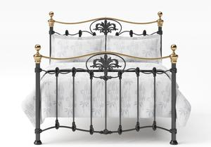 Camolin Iron/Metal Bed in Satin Black with Brass details - Thumbnail
