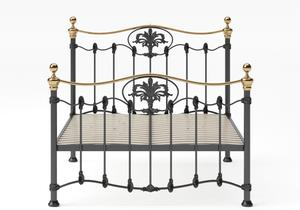 Camolin Iron/Metal Bed in Satin Black with Brass details and slatted frame - Thumbnail