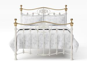 Camolin Iron/Metal Bed in Glossy Ivory with Brass details  - Thumbnail