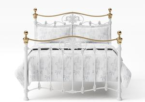 Camolin Iron/Metal Bed in Satin White with Brass details  - Thumbnail