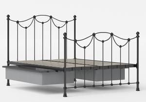 Carie Iron/Metal Bed in Satin Black shown with underbed storage - Thumbnail