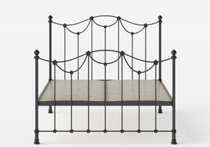 Carie Iron/Metal Bed in Satin Black shown with slatted frame - Thumbnail