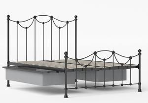 Carie Low Footend Iron/Metal Bed in Satin Black shown with underbed storage - Thumbnail