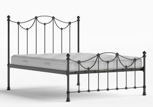 Carie Low Footend Iron/Metal Bed in Satin Black shown with Juno 1 mattress - Thumbnail