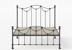Carie Low Footend Iron/Metal Bed in Satin Black shown with slatted frame - Thumbnail