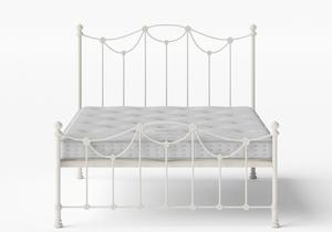 Carie Low Footend Iron/Metal Bed in Glossy Ivory shown with Juno 1 mattress - Thumbnail