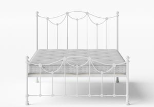 Carie Low Footend Iron/Metal Bed in Satin White shown with Juno 1 mattress - Thumbnail