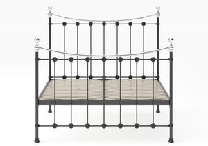 Carrick Iron/Metal Bed in Satin Black with chrome details shown with slatted frame - Thumbnail