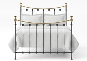 Carrick Iron/Metal Bed in Satin Black with brass details  - Thumbnail