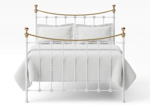 Carrick Iron/Metal Bed in Satin White with brass details  - Thumbnail
