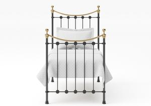 Carrick Single Iron/Metal Bed in Satin Black with brass details  - Thumbnail
