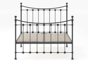 Carrick Iron/Metal Bed in Satin Black with black painted details shown with slatted frame - Thumbnail