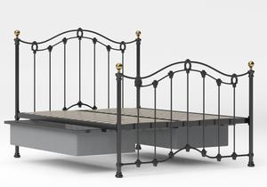 Clarina Iron/Metal Bed in Satin Black with brass details shown with underbed storage - Thumbnail