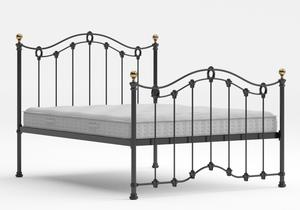 Clarina Iron/Metal Bed in Satin Black with brass details shown with Juno 1 mattress - Thumbnail